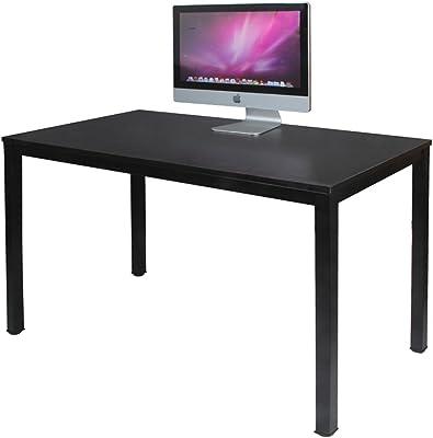 DlandHome Bureau Informatique d'ordinateur en Bois 120 * 60cm Postes de Travail Table d'étude/d'écriture/à Manger pour Maison/Bureau, Noir (Marron foncé)