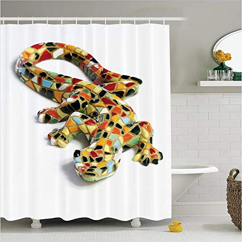 HHYSPA Skulpturen Miniatur Gaudi Eidechse Mosaik Fliesen dekorative Kunstwerke Badezimmer Duschvorhang mit 12 Haken 71X71 Inch