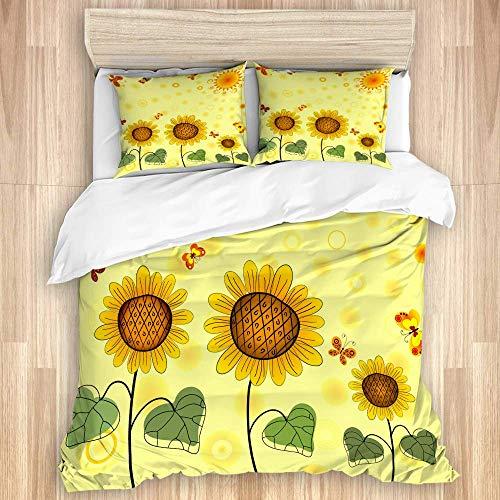 Juego de funda nórdica de 3 piezas, fondo amarillo de verano con girasoles, el sol y mariposas, juegos de fundas de edredón de microfibra de lujo para dormitorio, colcha con cremallera con 2 fundas de
