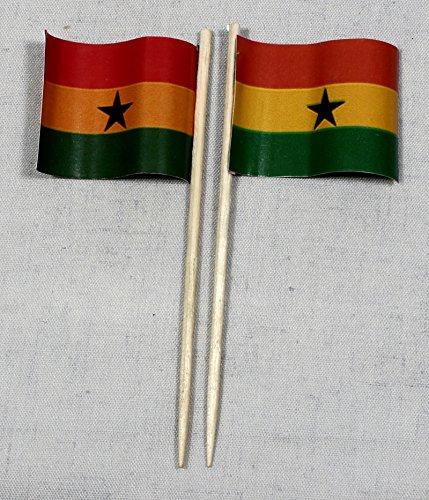 Buddel-Bini Party-Picker Flagge Ghana Papierfähnchen in Profiqualität 50 Stück 8 cm Offsetdruck Riesenauswahl aus eigener Herstellung