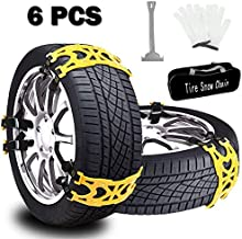 Buyplus Snow Tire Chains for Cars - 6 Sets Adjustable Anti Slip Emergency Tire Straps, Cars/SUV/Truck/ATV Winter Wheel Chains, Security Blocks for Vehicle