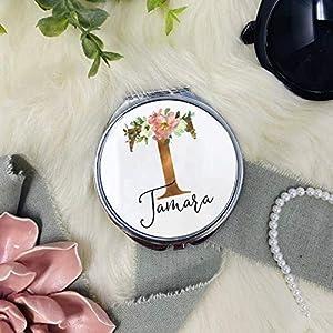 Geschenk Trauzeugin – Taschenspiegel Spiegel Kosmetikspiegel personalisiert mit Initial Gold und Name