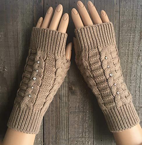 Cable Knit Fingerless Gloves Women Beige White Black Green Burgundy Red Rhinestone Arm Warmers Winter Mittens Hand Warmers Handmade