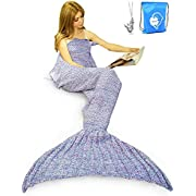 LAGHCAT Mermaid Tail Blanket Crochet Mermaid Blanket for Adult, Soft All Seasons Sleeping Blankets, Whale Tail Pattern (71 x 35.5 Inch, Purple)