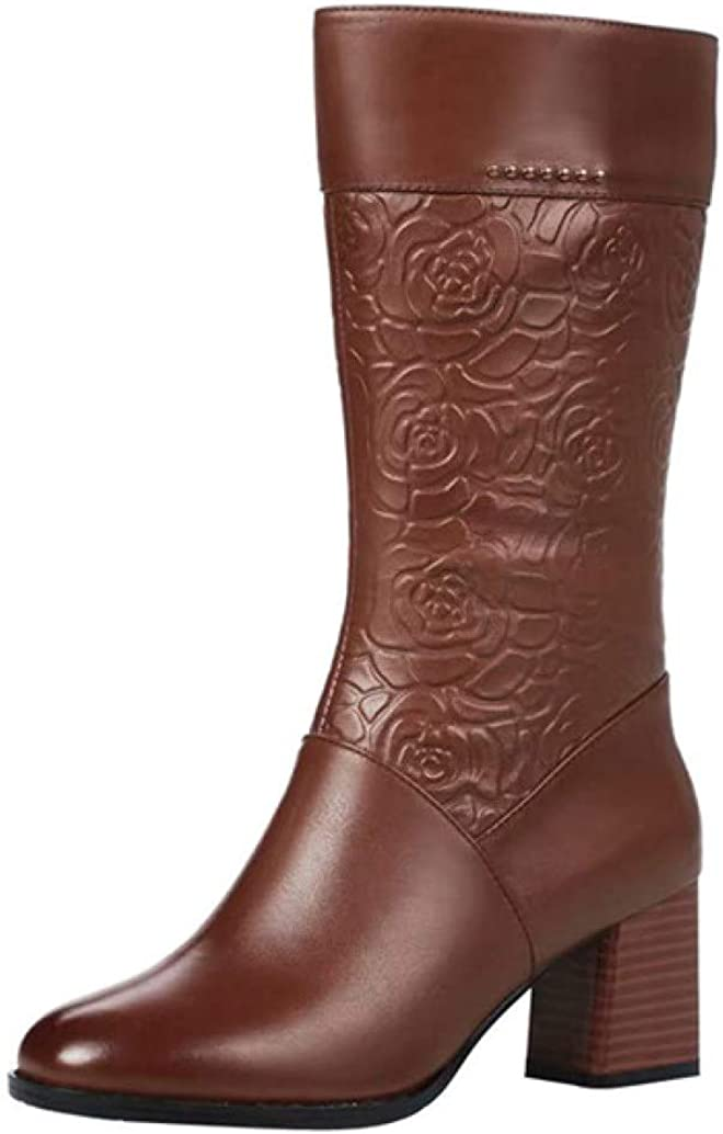 Women's Knee High Western Riding Boots Winter Floral Chunky Heel Side Zipper Mid Calf Boots
