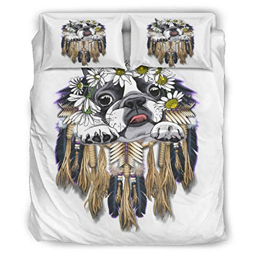 TengmiuXin Dreamcatcher Flower Dog 3 Pcs Ultra Soft Duvet Cover Set Polycotton Bed Set With 2 Pillow covers for bed Single Easy to Care white 66x90 inch