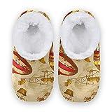 TropicalLife FELIZM - Zapatillas de casa con globo aerostático vintage para casa, antideslizantes, para interiores y exteriores, para hombres y mujeres, color, talla Medium