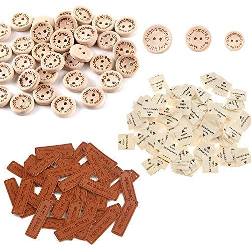 Zasiene Etiquetas Handmade 300 Pcs Etiquetas de Tela Etiqueta de Cuero Botones Madera Relieve Etiqueta Bricolaje Costura Artesanía Decoraciones Accesorios