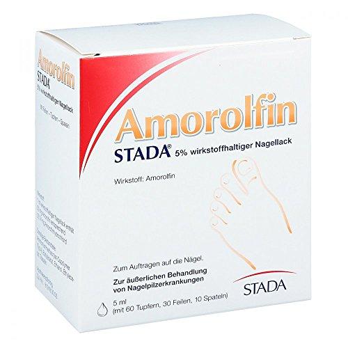 STADA Amorolfin zur äußerlichen Behandlung von Nagelpilz-Erkrankungen - 5% wirkstoffhaltiger Nagellack - mit 60 Tupfern, 30 Feilen, 10 Spateln - 1 x 5 ml