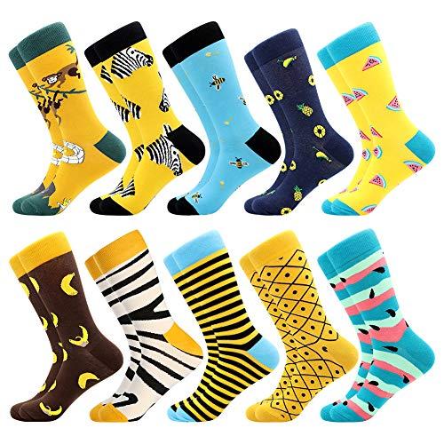 BONANGEL Chaussettes amusantes pour homme, colorées et amusantes à motifs, en coton peigné, chaussettes de bureau, mi-mollet cool, design unique et frappant (10pairs-Monkey1)
