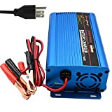Unocho 24V 5A Automatic Battery Charger Trickle Charger Battery Maintainer with Alligator Clips 4 Stage for Scooter Car Wheelchair Motorcycle Golf Cart eBike Lawn Mower Marine Boat