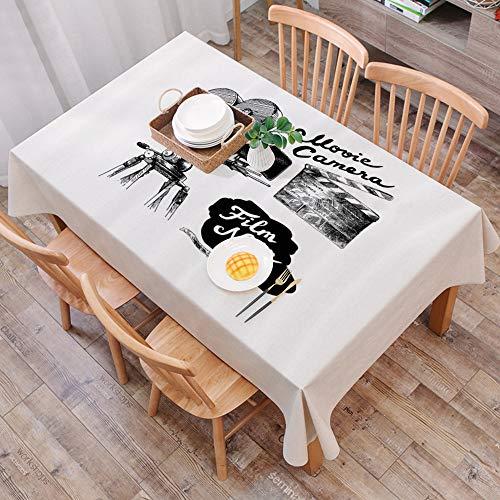 Moderna Cotone Lino Anti-Macchia Tovaglie,Cinema, Macchina da presa antica Stile cinematografico disegnato a mano Stampa a tem,tovaglia rettangolare in cotone e lino, per cucina e esterni, 140*200cm