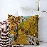 New-WWorld-Shop Kissenbezüge Farbbäume Original Aquarell Parkland Malerei Herbstwandern Inspiriert von Wickelkissen Kissenbezüge