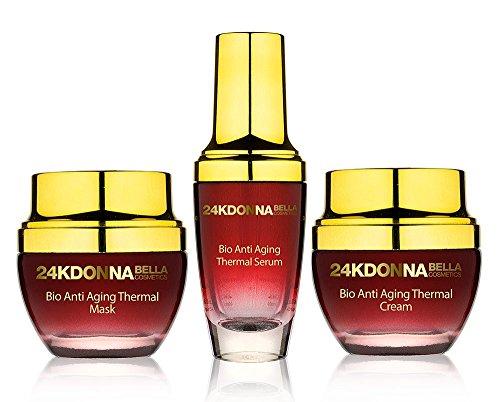 Donna Bella 24K Gold Bio Anti-Aging Thermal Set Mask + Cream + Serum Skin Care Set