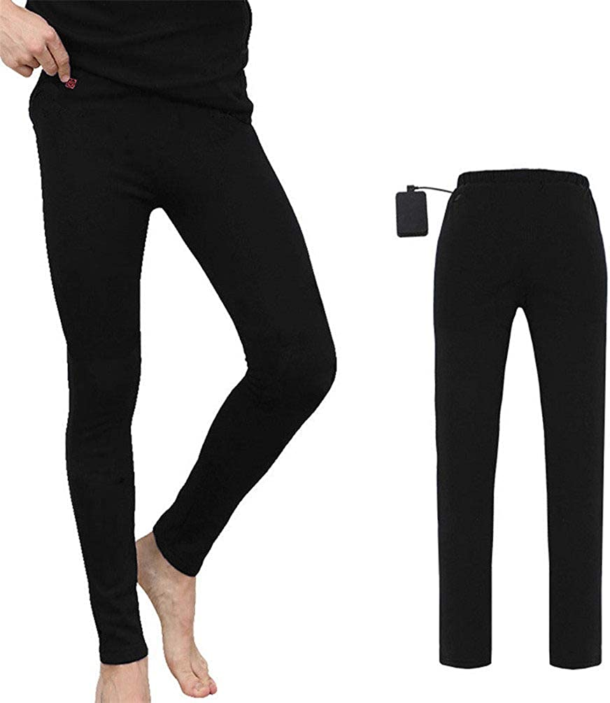 Long Johns Cotton, Heated Thermal Baselayer Bottoms, Intelligent Heating with USB Port, Thermal Underwear Mens, Comfortable Breathable Elastic Safety Washable, for Skiing Camping,Black-XL