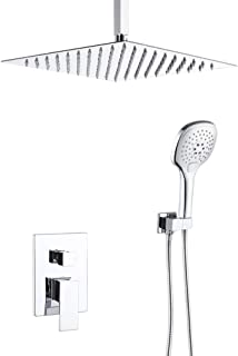 12 Inch Shower System Chrome Ceiling Mount Bathroom Luxury Rain Mixer Shower Combo Set, Shower Faucet Set with Ceiling Rainfall Shower Head (Contain Rough-In Valve Body and Trim)