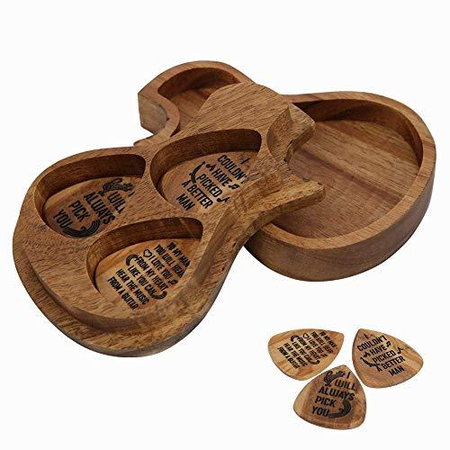 Caja de selección de Guitarra, Conjunto de selección de Guitarra, púas de Guitarra acústica de Madera, Grano de Madera portátil pequeño para Guitarra de Almacenamiento