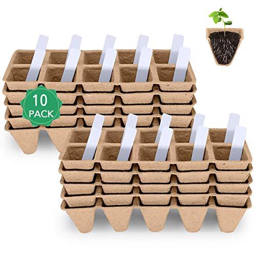Seed Starter Tray, Seedling Starter Peat Pots Kits, Biodegradable Compostable Planting Pots for...