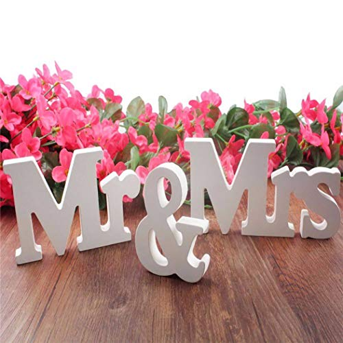 IronBuddy Mr Mrs Sign Letters 3D White Wooden Letters Decoration Wooden Mr and Mrs Letters for Party Wedding Table Decoration Photo Props (White)