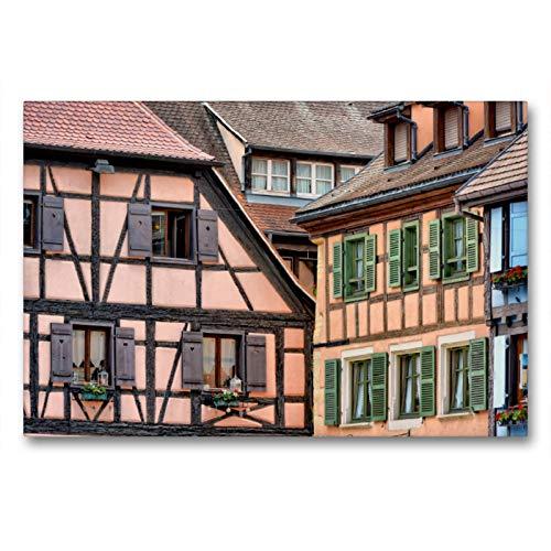 Premium Textil-Leinwand 90 x 60 cm Quer-Format Typisches Fachwerk   Wandbild, HD-Bild auf Keilrahmen, Fertigbild auf hochwertigem Vlies, Leinwanddruck von Thomas Bartruff