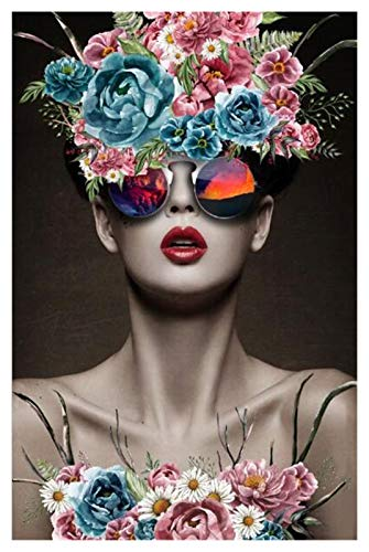 YALUO Belleza Abstracta Arte Moderno Muchacha Moderna con Flores DE VERDADES Pintura Pinturas Pop Art Wall Arte para LA CASA DE Estar Decoración de la casa (sin Marco)