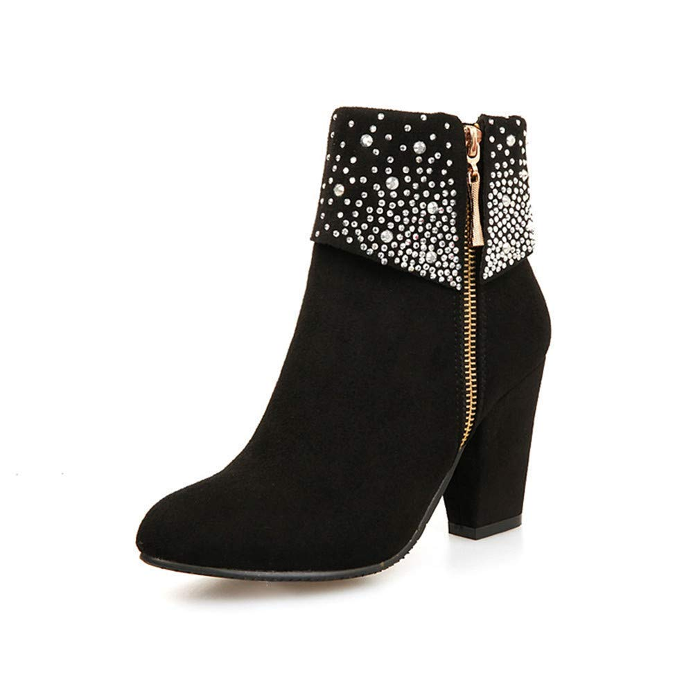 Super sale ASHENG Women's Glitter Zipper Chunky Block Finally popular brand Ankl Pointed Heel Toe