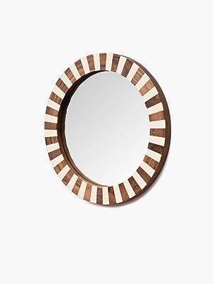 CASADECOR Round Shape Tale Mirror (Wood_White_14 x 10 Inch)
