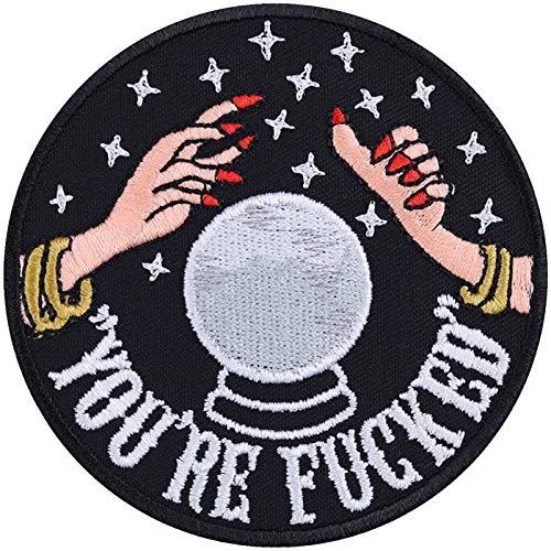 Lustige Aufnäher You're Fucked Global Warming Aufbügler Hipster Patch Biker Bügelbilder Climate-Change Kristallkugel Spiritual Hippie DIY Applikation für Leder-Jacken/Jeans/Taschen 80x80mm