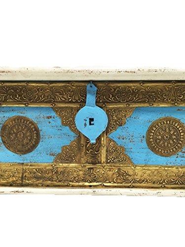 Orientalische Truhe Kiste aus Holz Murali 115cm groß in Weiß | Vintage Sitzbank mit Aufbewahrung für den Flur | Aufbewahrungsbox mit Deckel im Bad | Betttruhe als Kissenbox oder Deko im Schlafzimmer - 2