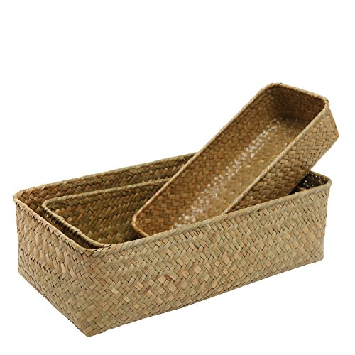 Juego de 3rectangular tejida a mano natural de almacenamiento Nesting cestas (mimbre y casa organizador Contenedores