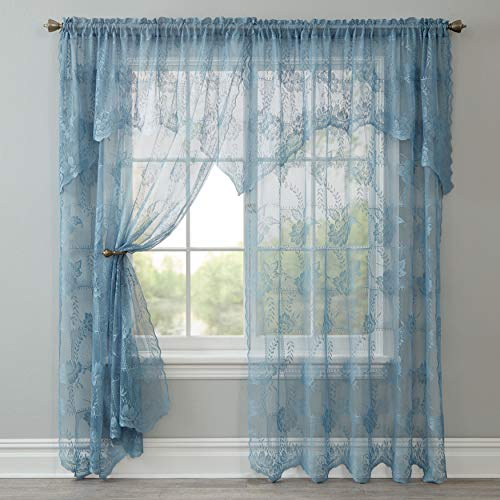 BrylaneHome Ella Floral Lace Panel with Attached Valance - 58I W 63I L, Cornflower Blue