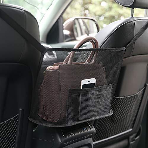 Car Organizer Net Pocket Holder,Seat Back Net Bag with Waterproof Oxford Cloth Umbrella Pocket, Women handbag, Phone,Documents, Books pocket ,Barrier of Back seat Kids and Pet (Black)