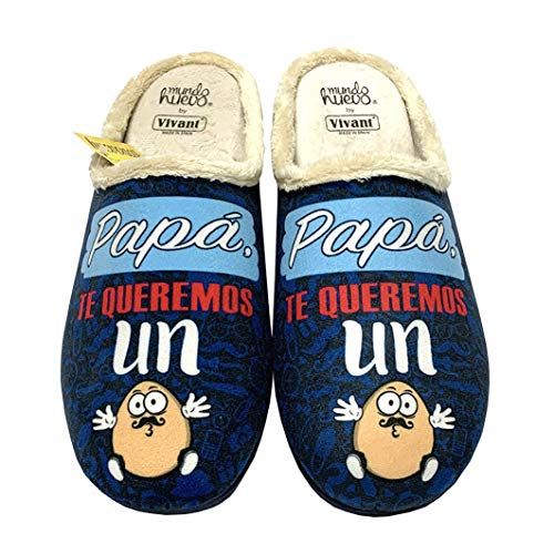 Zapatillas de casa Papá te Queremos un Huevo Azul Talla 45