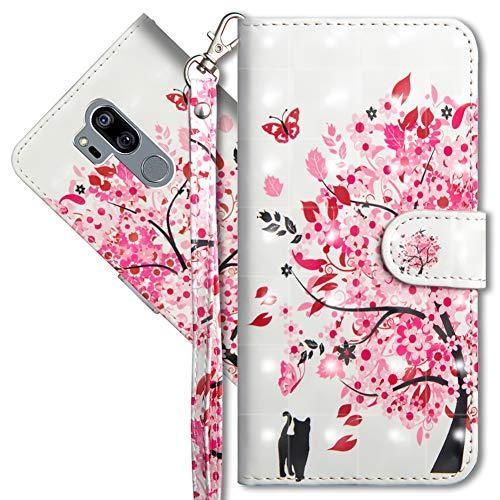 MRSTER LG G7 ThinQ Handytasche, Leder Schutzhülle Brieftasche Hülle Flip Hülle 3D Muster Cover mit Kartenfach Magnet Tasche Handyhüllen für LG G7 ThinQ. YX 3D - Tree Cat