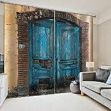 WAFJJ Cortinas Opacas de Ojales Puerta Azul y Madera con Aislantes Térmicas para Niños y Ventanas de Salón Dormitorio Tamaño:2x140x175cm(An x Al)