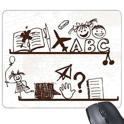 Papieren vliegtuig kindachtige kinderen schattig handgetekende illustratie boekenplank college rechthoek antislip rubber muismat spel muismat cadeau