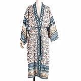 LXDWJ Donne sciolte Kimono Cardigan Cardigan Stampa Floreale Camicetta a Maniche Lunghe Costume da Bagno Coperta up Scialle Aperta Anteriore Abito da Spiaggia