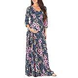 Amphia Umstandsmode Damen Kleid - Umstandskleid - Schwangere Frau Print Wickel Umstandskleid Verstellbarer Gürtel Multifunktionskleid