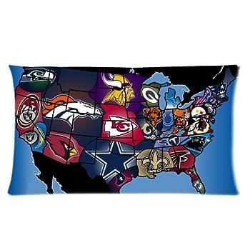 NFL Logo Map Custom Cotton 20*36 King Size Pillowcase