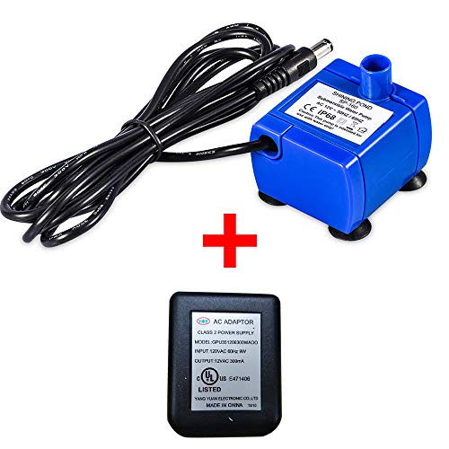 Pet Water Pump, Cat Water Fountains Pump Compatible Motor, for Pet Drinking Fountains Cat Water Dispenser Replacement with US Power Adapter (With Power Adapter)