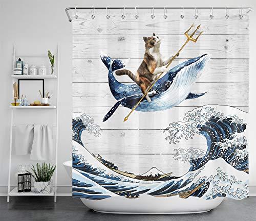 LB Lustige Katze auf Wal Duschvorhang Antischimmel Wasserdicht Badezimmer Gardinen Japanische große Welle & Holzplanke 180x200cm Extra Lang Polyester Bad Vorhang mit Haken