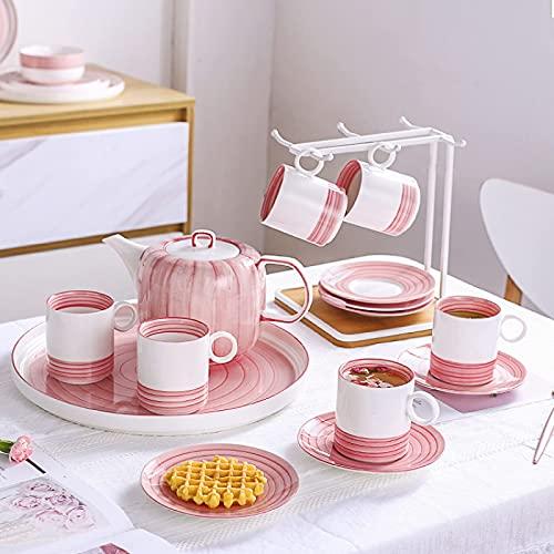 Porcelain Tea Sets Service Tea Set For Adults Coffee Cup And Saucer Set Afternoon Tea Set With Tea Tray Pink