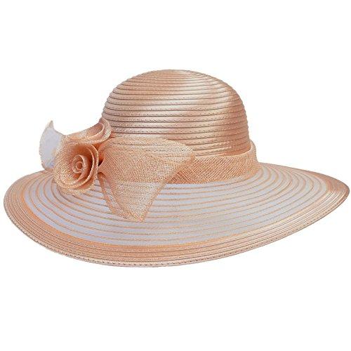 Damenhut von Lawliet, für Kirche, Hochzeit, Kentucky Derby, breite Krempe, Sonnenhut, formeller, königlicher Ascot-Hut Gr. Einheitsgröße, Nude Pink