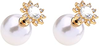 18K Gold Plated double-sided white imitation Pearl With CZ Round Sunflower women stud earring