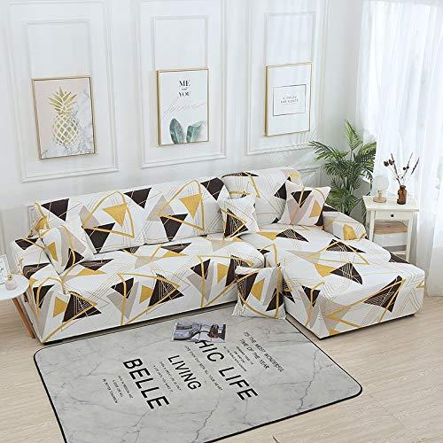 Funda de sofá en Forma de L Fundas elásticas Fundas de sofá elásticas para Sala de Estar Funda de sofá seccional Chaise Longue A15 3 plazas