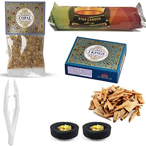 Set de Inciensos Naturales | Resina 3 Reyes (50 gr.) + Resina de Copal (30 gr.) + Astillas de Palo...