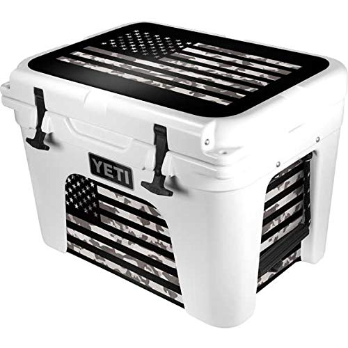 Skinit Decal Skin Compatible with YETI Tundra 35 Hard Cooler - Originally Designed Black and White Camo American Flag Design