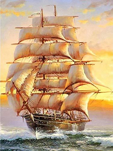 DIY Pintura al óleo Barco de vela grande DIY por Números Pint Pintar por Adultos Niños Principiantes 40 X 50cm