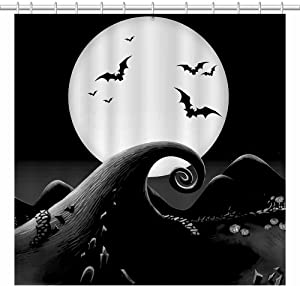 SHENGJUN 72x72 Black Halloween Shower Curtains for Hallowmas Before Christmas Kids Bath Bathroom Decors Bats Full Moon Night All Saints Day Home Fabric Waterproof Shower Curtain Set with 12 Hooks