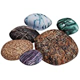 K Kackool 6-Piece Set Parlor Floor Cushion Cover Big pebbles Cushioncover Pillowcase With Colored Stones Kids Room Rock Toy Storage Pillow Case (random combination)